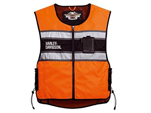 Harley-Davidson Weste HI-VIS Orange, S-L Einheitsgröße Herren Harley Davidson Leder Weste