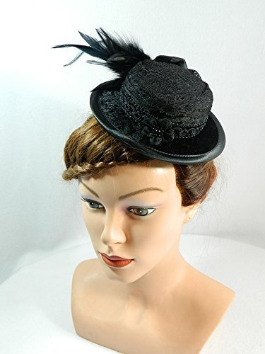 Mini Sommerhut schwarz Samt Damenhut Fascinator -