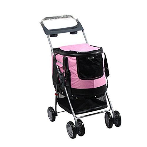 XiaoXIAO Haustier Trolley Multifunktionale Faltbare vierrädrige Haustier Kinderwagen Katze Teddy große Hund Cart Pet Scooter Outdoor-Reisezubehör Haustier Tasche (Color : Pink) -