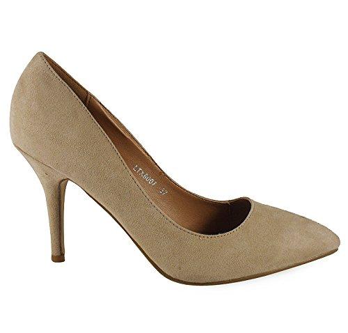 Loudlook Nouvelles Femmes Dames Haut Talon Aiguille Pointy Parti Going Out Chaussures De Travail Taille 3-8 Beige Suede