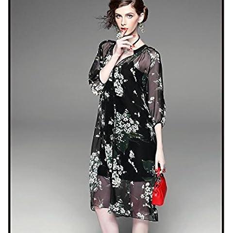 BIU V - manica collo singolo - sottile di seta giacca tute di protezione retrò stampa Sun 'donne petto , black , l