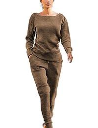 MXJEEIO- Chandal Conjunto De Punto Chándal Invierno Otoño Mujer Color Sólido Algodón Elasticidad Training Fitness Yoga Sports Top Pantalones De Yoga Sports Pantalones 2 Piezas Conjuntos
