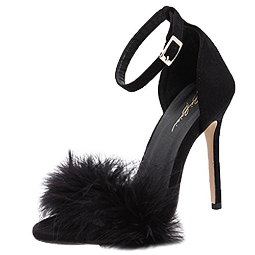 Oasap Women's Peep Toe Ankle Strap Feather High Heels Sandals Black