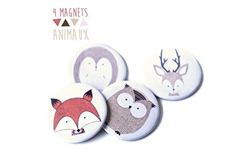 4-magnets-animaux-56-mm-renard-hibou-cerf-herisson-fort-doux-orange-marron-beige-blanc-illustration-
