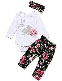 Ropa Bebe Niña Invierno Otoño Fossen Recién Nacido Niña Bebé Camiseta y Pantalones de Flores y Cintas de Pelo