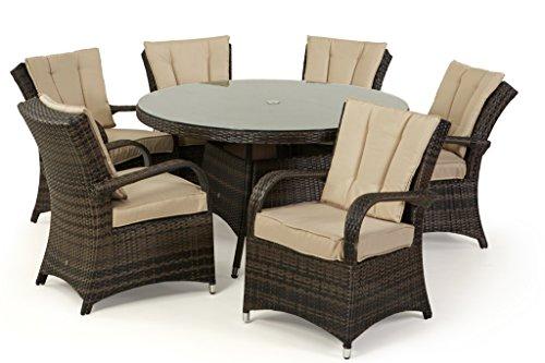 San Diego Rattan Garden Furniture Houston 6 Seater Round Table Set