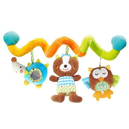 Lalang Baby Plüschtiere, Kleinkindspielzeug,Beschwichtigen Schlaf Spielzeug,Kinderwagen, der Spielzeugauto-Drehmaschine hängenden Baby Rasseln, Farbige Klein Igel und Bär