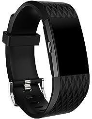 Malloom Nueva moda deportes reemplazo silicona pulsera correa banda para Fitbit Charge 2 (Negro)