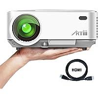 Videoprojecteur Portable, ARTLII Retroprojecteur 2000 lumens LED HD 1080p Projecteurs pour Jeu Video Photos Films (Blanc)