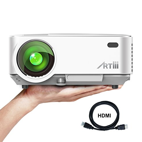 HD Beamer, Artlii iPhone Beamer Handy Mini 1500 Lumens LED Heimkino Video Portable Projektor Unterstützung 1080P PS4 iPad Smartphone TV PC Laptop Kopfhörer Filme Video Spiele (Portable Dvd-player White)