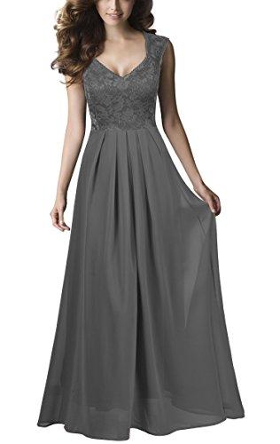 REPHYLLIS Damen Vintage Chiffon Hochzeit Brautjungfer Lang Spitzenkleider Abendkleider (S, Grau) (Lange Chiffon-kleid Grau)