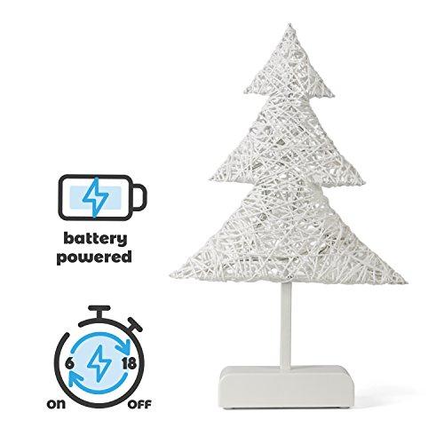 SnowEra LED Dekorationsleuchte / Weihnachtsbeleuchtung kabellos mit 10 LED´s inkl. Batterien in Rattanoptik |Form: Weihnachtsbaum - weiß