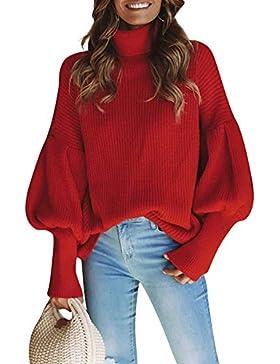 [Patrocinado]Romacci Otoño Invierno Mujer Punto Suéter Cuello Alto Manga de la Linterna Sólido Flojo Jersey Prendas de Punto...