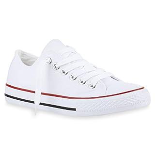 Bequeme Damen Schuhe Sneakers Low Cut Canvas Schuhe Basic Schnürer 141119 Weiss Rot Bernice 39 Flandell