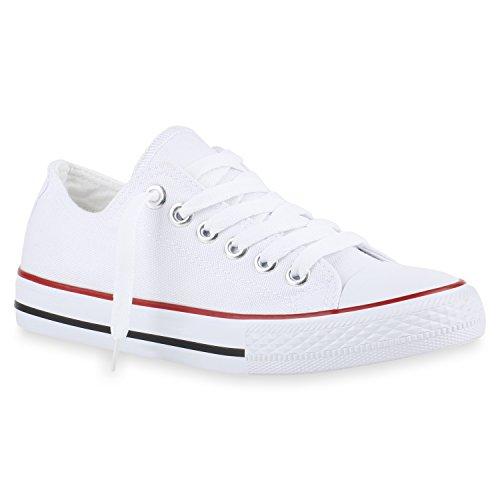 Stiefelparadies Bequeme Damen Schuhe Sneakers Low Cut Canvas Schuhe Basic Schnürer 141119 Weiss Rot Bernice 36 Flandell - Bereich Sneaker