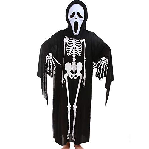 (ShiyiUP Halloween Kostüm Schädel Totenkopf Skelett Bekleidung Set Maske Handschuhe,Kinder)