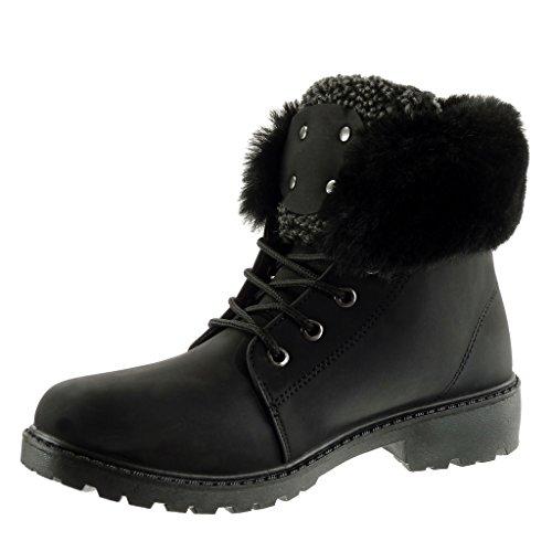 Angkorly - damen Schuhe Stiefeletten - Combat Boots - Pelz - Fertig Steppnähte - Nieten - besetzt Blockabsatz 3 CM Schwarz