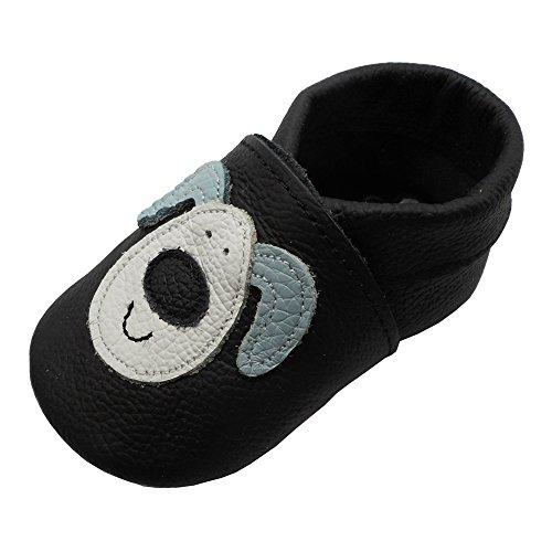 YIHAKIDS Neugeborene und Kleinkind Krabbelschuhe Babyschuhe Weiches Leder Lauflernschuhe Lederpuschen mit Schöner Hund(0-6 Monate,Schwarz)
