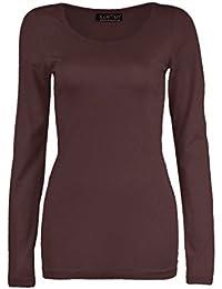 10fcbb0e4c3be Z H Ladies Womens Plain Long Sleeve Round Neck Top Basic T Shirt Layering Plus  Sizes UK