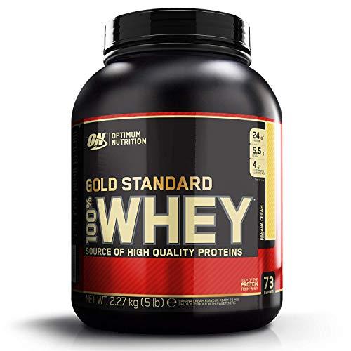 Optimum Nutrition ON Gold Standard Whey Protein Pulver, Eiweißpulver Muskelaufbau mit Glutamin und Aminosäuren, natürlich enthaltene BCAA, Banana Cream, 73 Portionen, 2.27kg