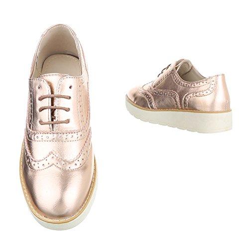 Ital-Design , Chaussures à lacets femme Rosa Gold 62025