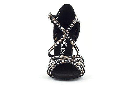 Dancin Scarpa da Ballo Limited Edition Titina Pully in Raso Leopardato con Listini Incrociati, 5 Fasce, Tacco 10 cm leopardato
