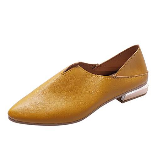 Schuhe Damen Mode Leder Einzelne Schuhe Beiläufige Retro Bequem Schuhe Komfort Zeigten Zehe Arbeitsschuhe Elegant Wild Müßiggänger Einfarbig Flip-Flop-Sandalen ()