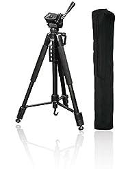"""Hama Fotostativ """"Action 165 3D"""" (Höhe 61–165 cm, 3-Wege Kugelkopf, Gummifüße und Spikes, Belastbarkeit bis 4 kg, Gewicht 1320 g leicht, Kamera Stativ inkl. Tragetasche) schwarz"""