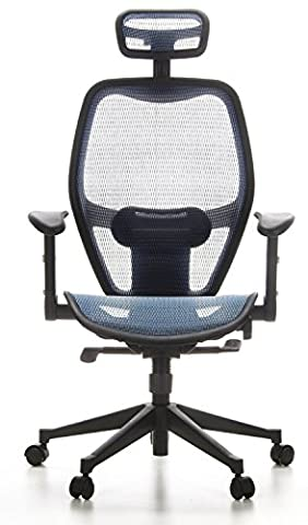 hjh OFFICE, 653060, Executive Chair, office chair, swivel, AIR-PORT, blue, mesh, High ergonomic mesh backrest with adjustable headrest, lumbar support adjustable, padded adjustable fold back amrests, synchronous mechanism with large angle