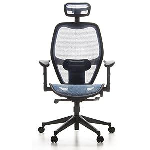 hjh OFFICE 653060 silla de oficina AIR-PORT tejido de malla azul, apoyabrazos plegables, soporte lumbar, apoyacabezas, inclinable, sillón alta gama