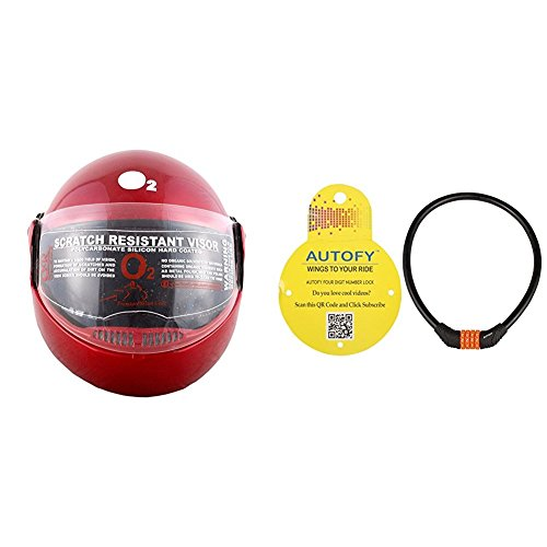 Autofy O2 Zed Full Face Flip Up Helmet (Red,M) and Autofy 4 Digits Universal Multi Purpose Steel Cable (Black and Orange) Bundle