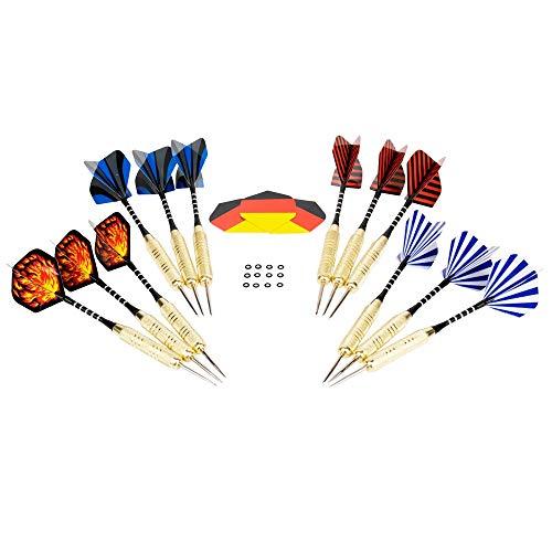 12 Dartpfeile mit Metallspitze 20g Hieronymus Darts I Steel Darts 15 Flights Steeldart Dart Pfeile Steeldarts Darts Set