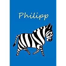 individualisiertes Malbuch / Notizbuch / Tagebuch - Philipp: Zebra - A4 - blanko