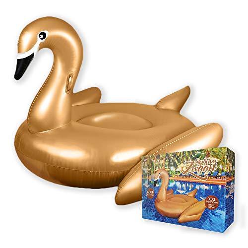mikamax - Aufblasbarer Schwan XXL Luftmatratzen - Gold -  Mit Griffen - Große XXL - 162 cm x 183 cm - Poolzubehör - Strandspielzeug - Pool Party