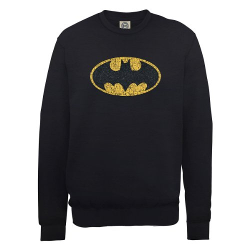 DC Comics Herren, Sweatshirt, DC0000516 Official Batman Gloss Logo Schwarz