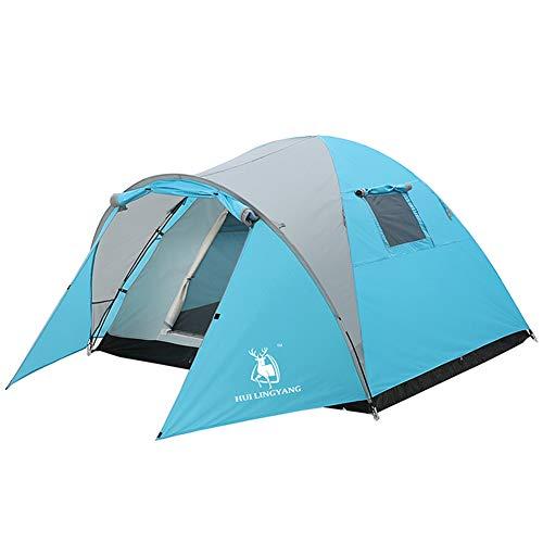 , Zweischichtiges, Regensicheres Zelt Mit Einem Schlafzimmer, Camping-Wanderzelte, Abriebfestes, Wasserdichtes Und Atmungsaktives Zelt,Blue ()