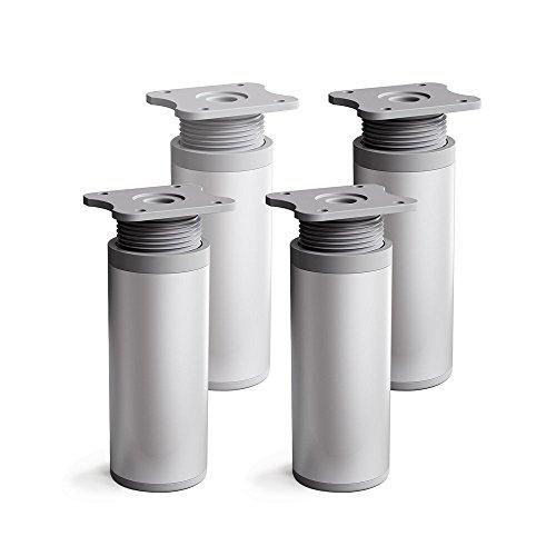 Design-Möbelfüße, 4er Set, höhenverstellbar   Rund-Profil: Ø 40 mm   Sossai® MFR1-AL   Farbe: Alu   Höhe: 80mm (+20mm)   Material: Aluminium/Kunststoff   Holzschrauben inklusive
