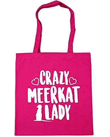 HippoWarehouse Crazy meerkat lady Tote Shopping Gym Beach Bag 42cm