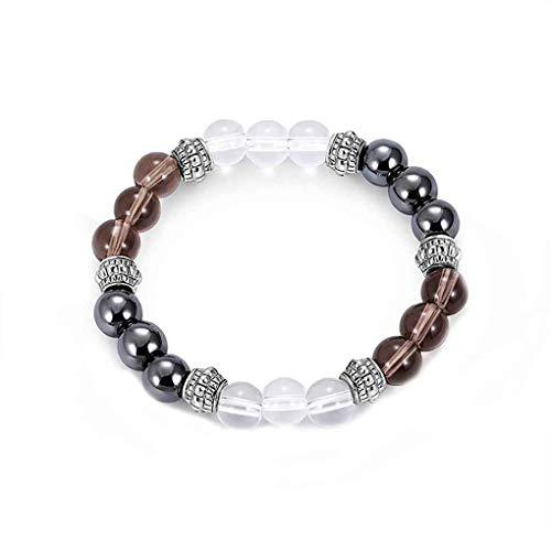 Rekkles Unisex-Glaskristallnaturstein-Mischfarben Farbton Alternating Geometric 8mm Perlen Armbänder