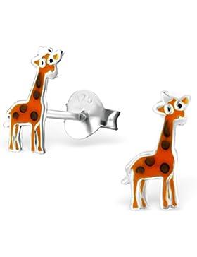 JAYARE Kinder-Ohrstecker Giraffen 925 Sterling Silber Emaille 10 x 4 mm orange Ohrringe