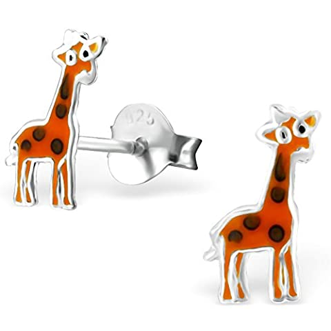 JAYARE Kinder-Ohrringe Giraffen 10 x 4 mm Emaille 925 Sterling Silber orange im Etui