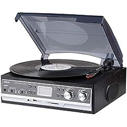 JORLAI 33/45/78 Platine Vinyle avec écran LCD Radio FM AM Lecteur Vinyle avec Enregistrement Bluetooth USB / SD et Lecteur MP3 Prise AUX pour Haut-Parleur Externe
