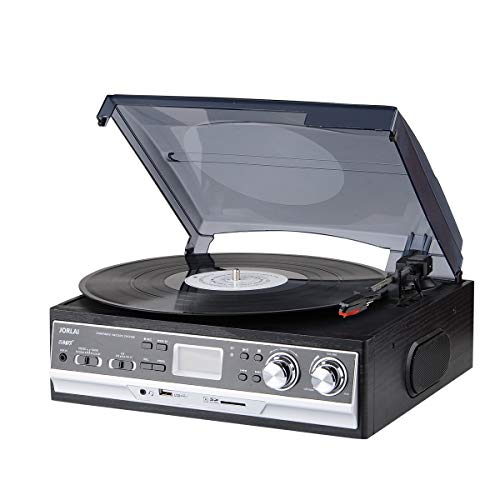 Jorlai 3-Speed Bluetooth Giradischi con Altoparlanti Stereo Integrati, Registrazione in Vinile su...