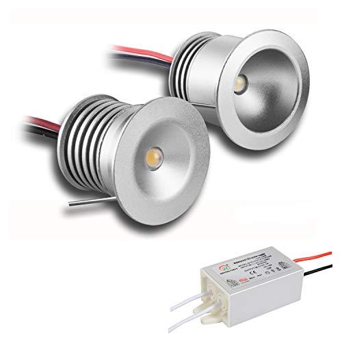 6 x Mini-LED-Spotlights, 12 V, 1 W,Lichter für Vitrinen, Treppen, Ecken und DIY-Beleuchtungsprojekte, Warmweiß, Naturweiß, Kaltweiß, wasserdicht, IP65-, CE- und RoHS-zertifiziert, warmweiß, 60° - 1w Led-licht