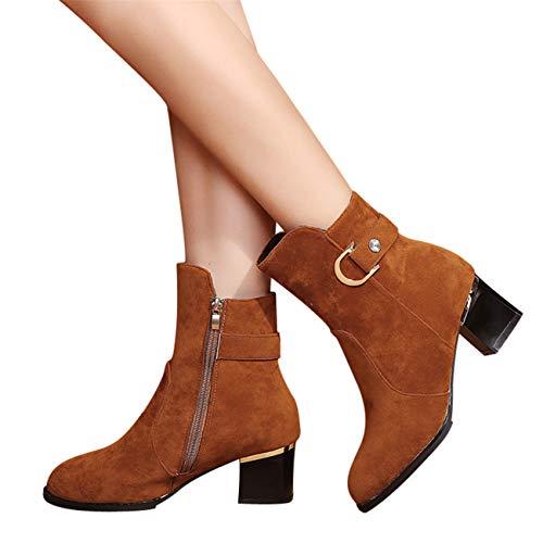 Amuster inverno casual fashion primavera elegante semplice stivaletto alla caviglia basso donne medio tubo camoscio stivali da pioggia scarpe zipper boot (38.5, marrone)