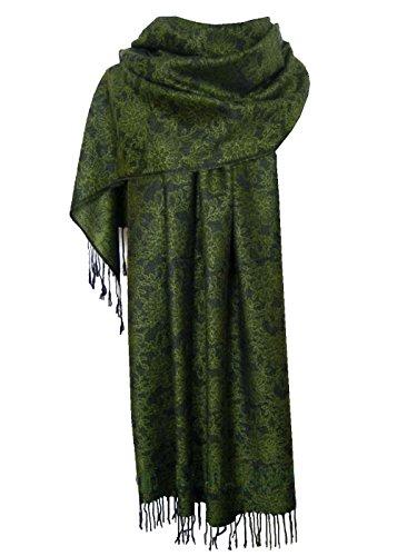 Nella-Mode Edler & Eleganter Schal, Stola; - Florales Muster; - Farbe: Grün