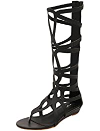 Gladiator con Peep Alta Chanclas Verano Zapatos Qitun Toe Rodilla Mujeres Cage Planos Strappy Sandalias x7qz6p1