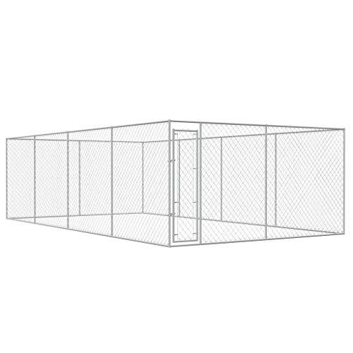 WT Trade Premium XXL Outdoor-Hundezwinger für Draußen mit Tür | 8x4 m | Hundehütte Hundekäfig Hundehaus Hütte | außen Auslauf