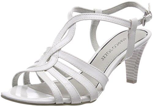 MARCO TOZZI 28321, Sandali con Cinturino alla Caviglia Donna, Bianco (White Patent), 39 EU