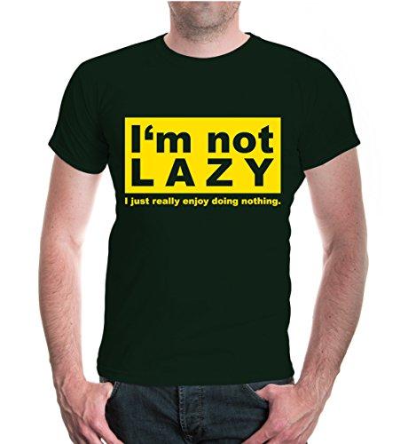 buXsbaum® T-Shirt Im not lazy I just really doing nothing Bottlegreen-Sunflower